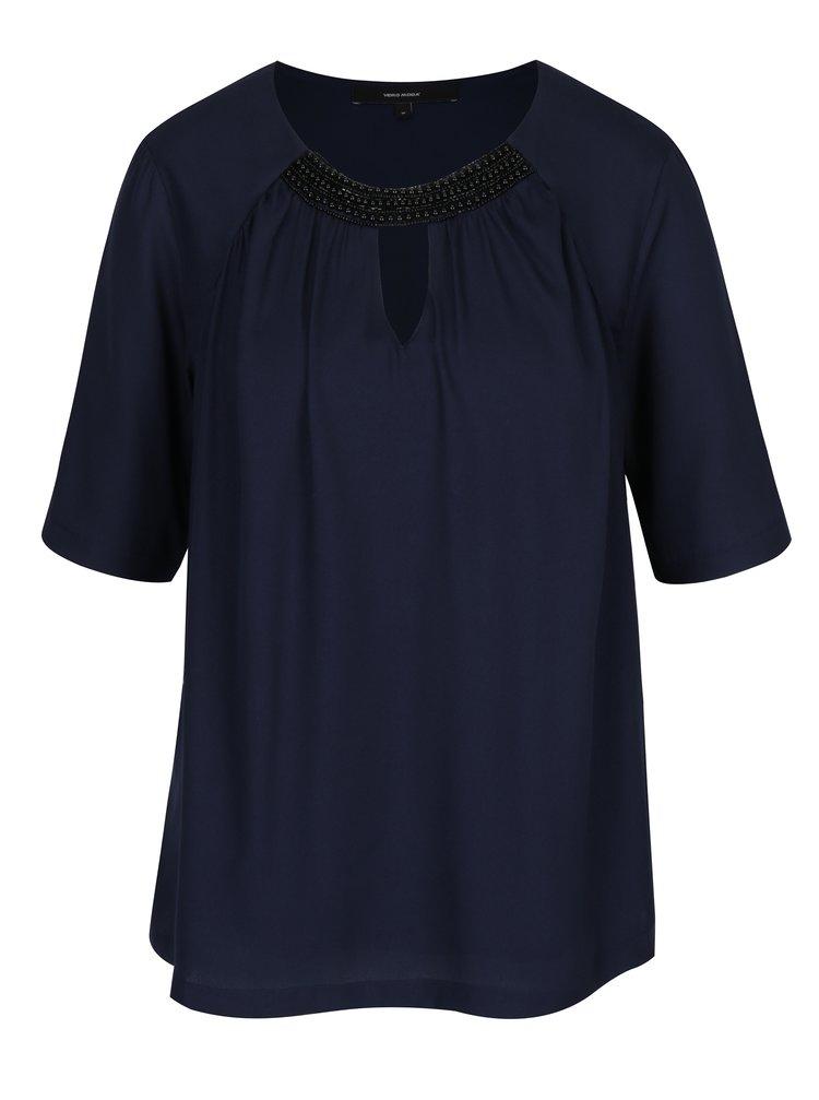Bluza bleumarin cu pliuri si margele VERO MODA Petra