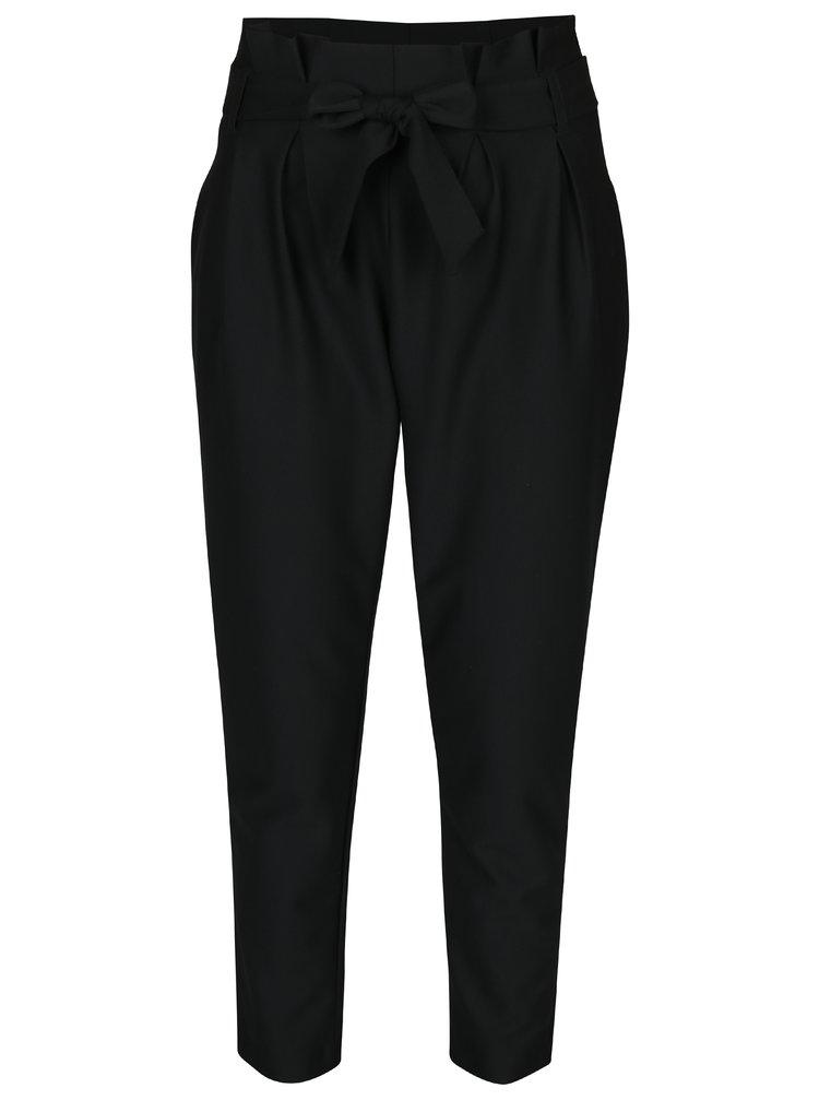 Černé volné kalhoty s páskem VERO MODA Jussi