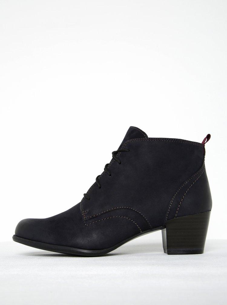 Tmavě modré kožené kotníkové boty na podpatku Tamaris