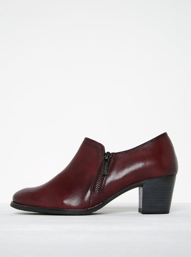 Pantofi roșu bordeaux din piele naturală cu fermoar lateral - Tamaris