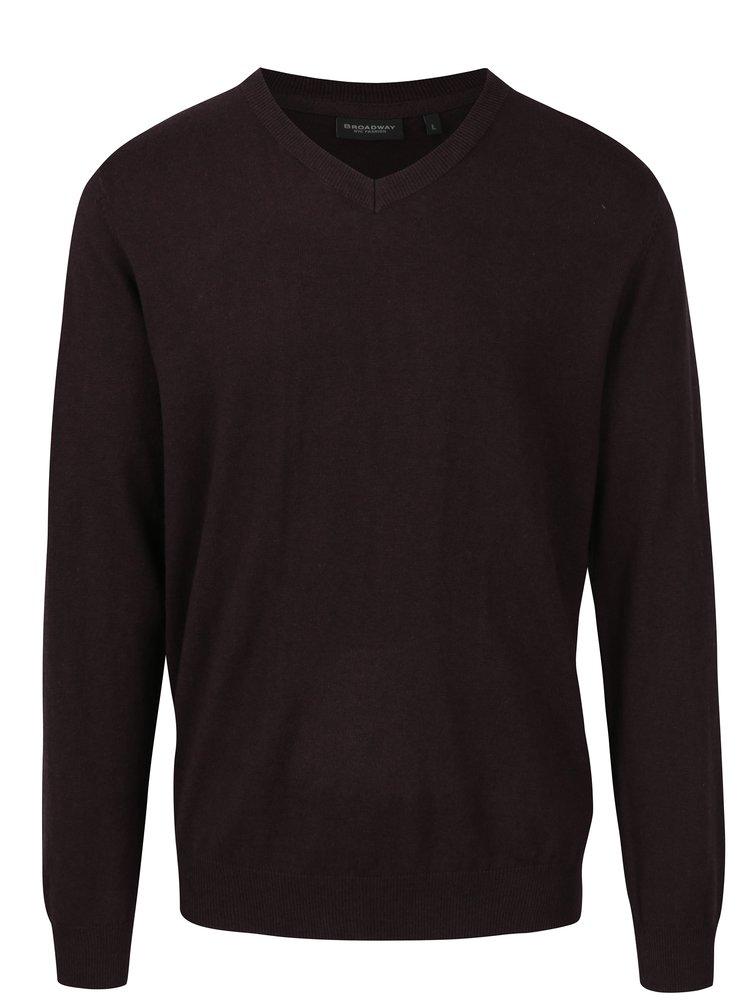 Vínový pánský lehký svetr s véčkovým výstřihem Broadway Maison