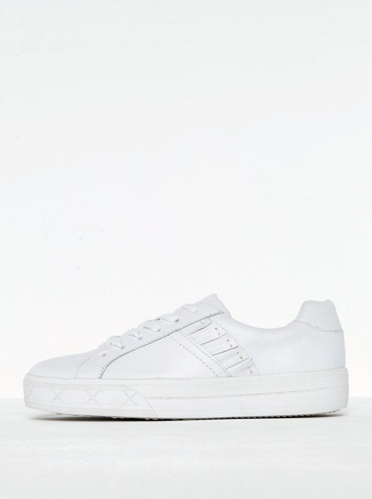 Pantofi sport cu platforma albi din piele naturala Tamaris