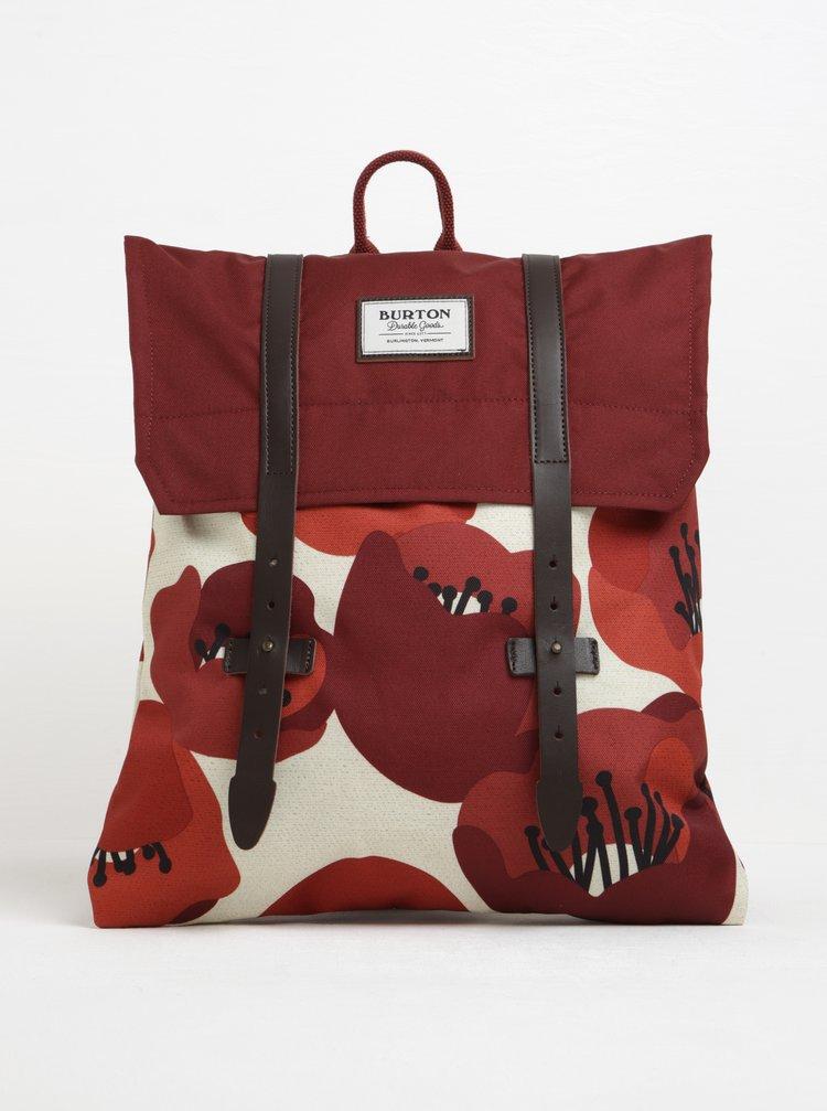 Krémovo-vínový dámský květovaný batoh Burton WMS Taylor 13 l