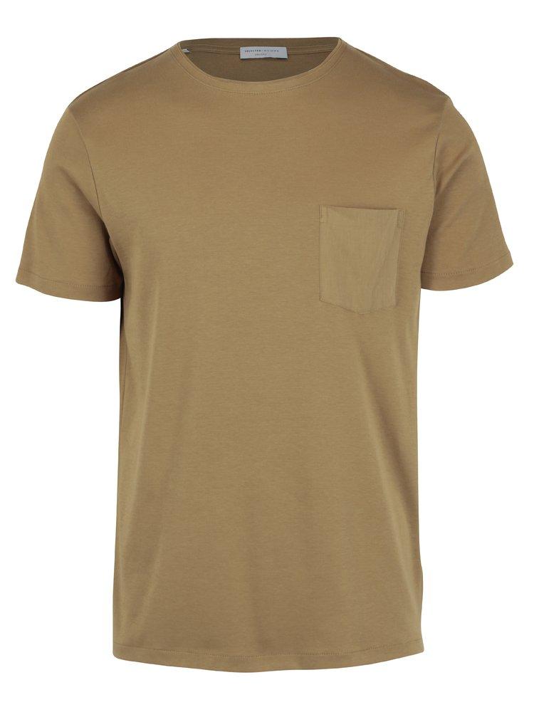 Světle hnědé tričko s náprsní kapsou Selected Homme Fin