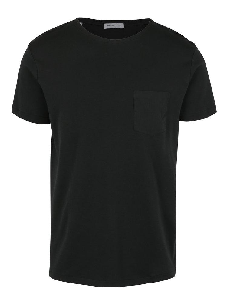 Tricou negru cu buzunar Selected Homme Fin