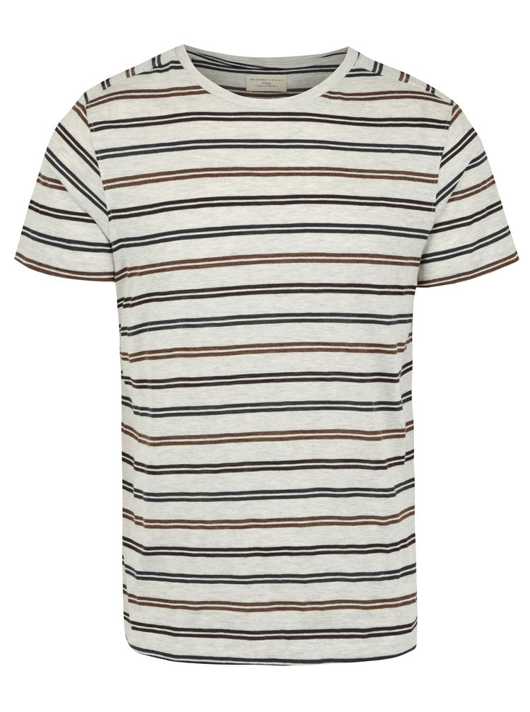 Tricou gri&maro in dungi Selected Homme Ryan