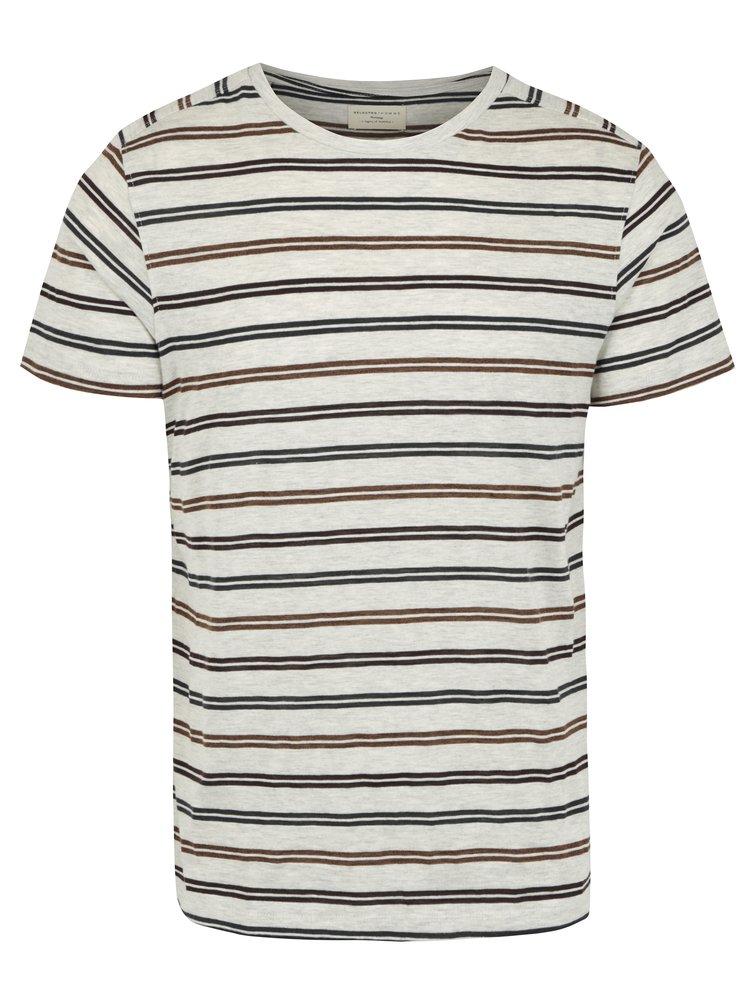 Šedé pruhované tričko Selected Homme Ryan