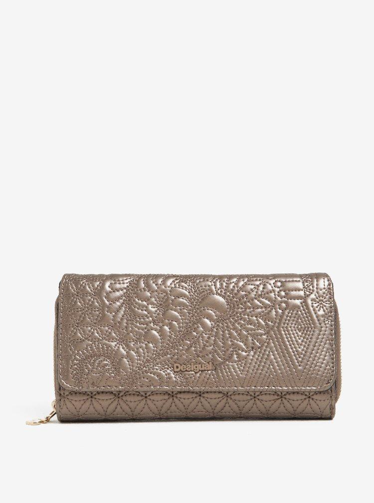 Peněženka ve zlaté barvě s jemným vzorem Desigual Padded Lottie