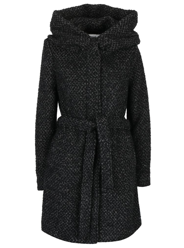 Černo-šedý vzorovaný kabát s příměsí vlny a s kapucí VILA Cama