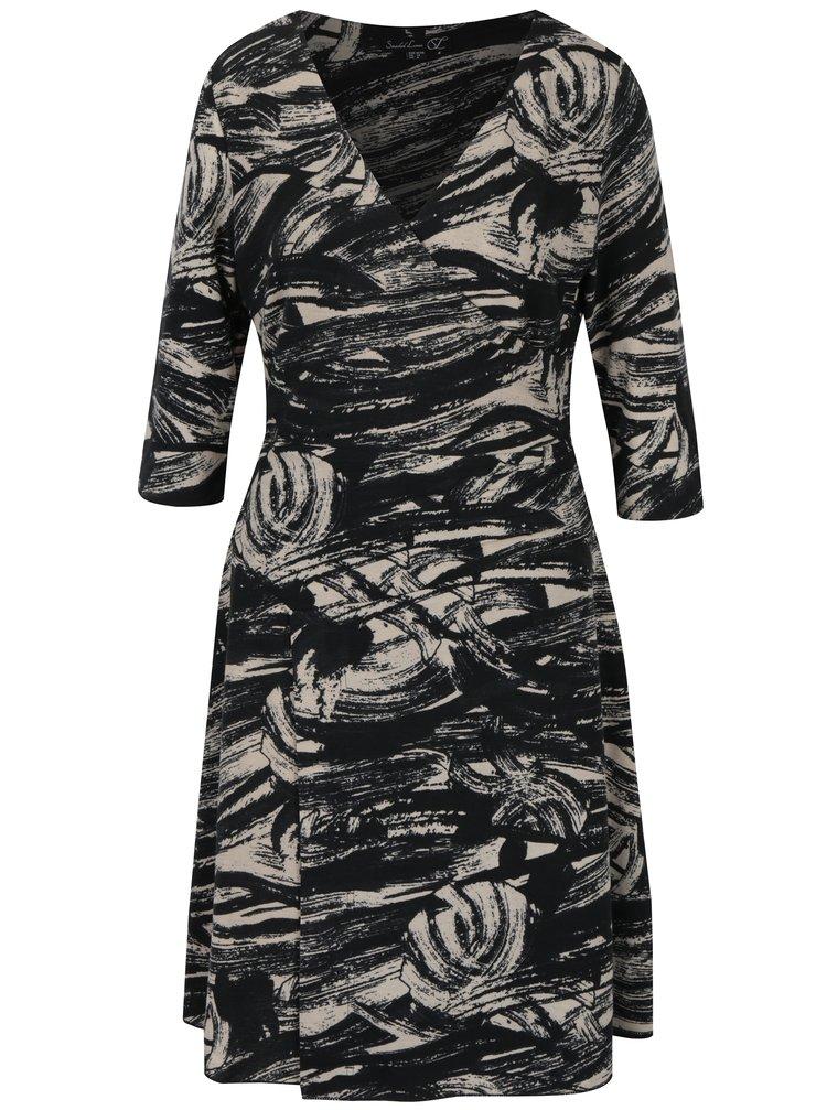 Černé vzorované šaty s 3/4 rukávem Smashed Lemon