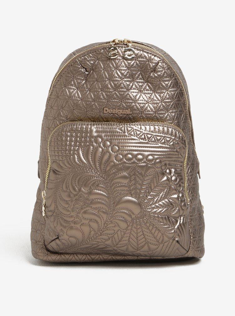 Batoh ve zlaté barvě s prošívanými detaily Desigual Lima Lottie