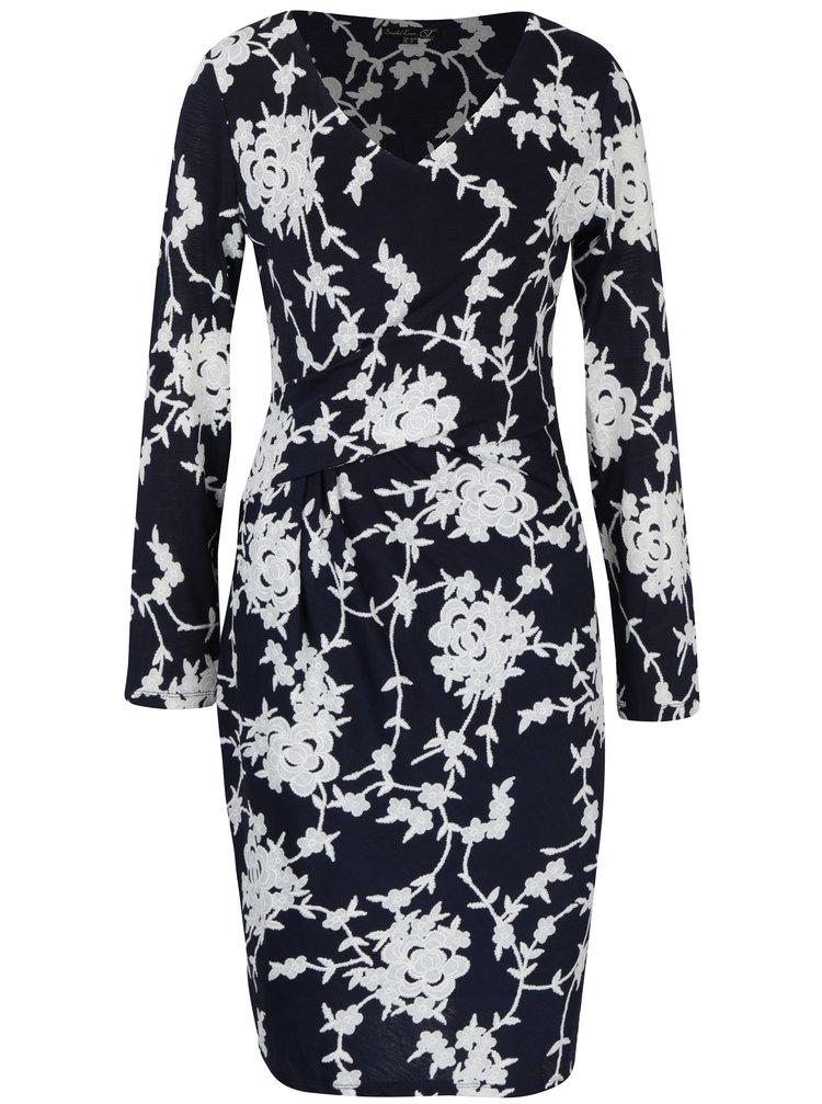 Tmavě modré květované šaty Smashed Lemon