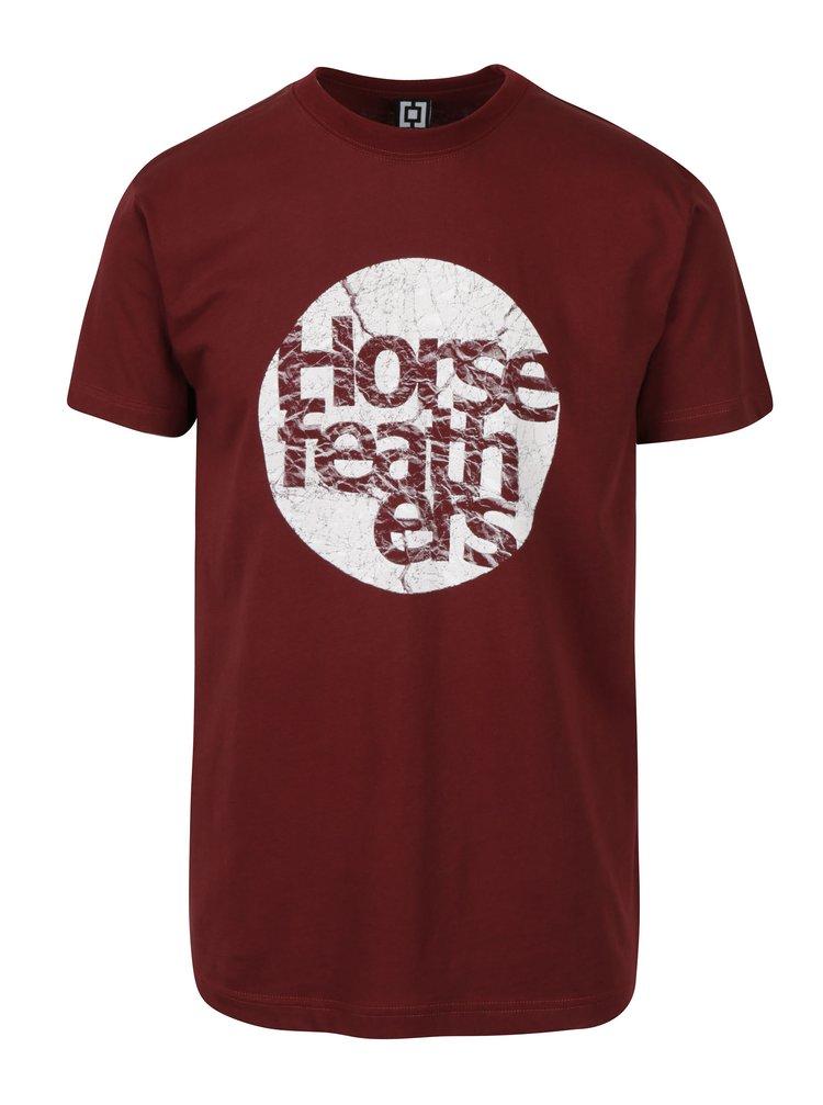 Vínové pánské tričko s potiskem Horsefeathers Bout