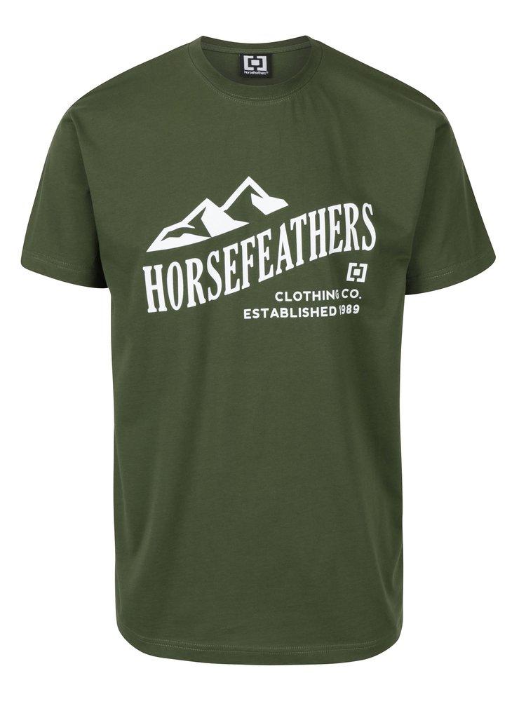 Zelené pánské tričko s krátkým rukávem a potiskem Horsefeathers Ripple