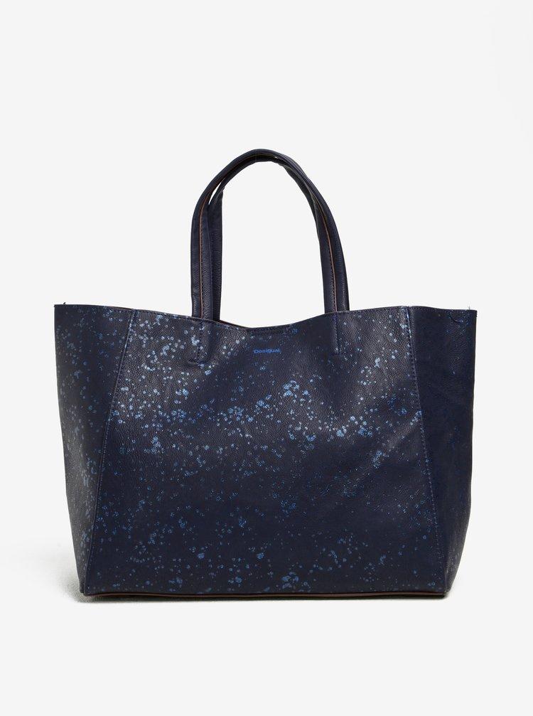 Tmavě modrý shopper/kabelka 2v1 Desigual Cuenca Metal Splatter