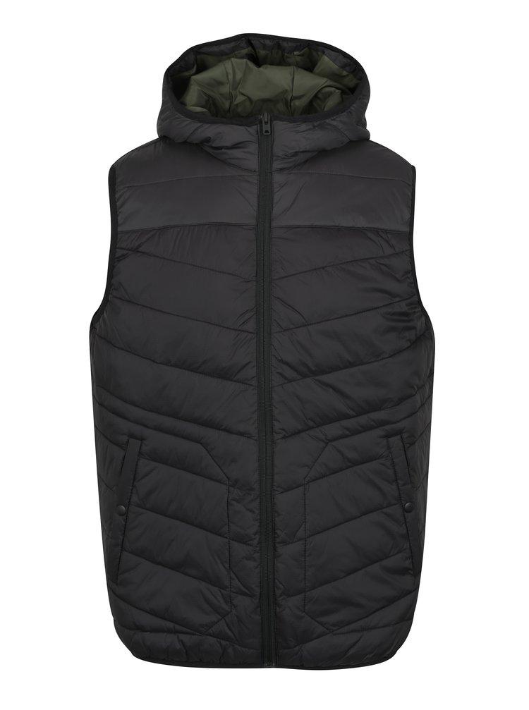 Černá prošívaná vesta s kapucí Jack & Jones Moss