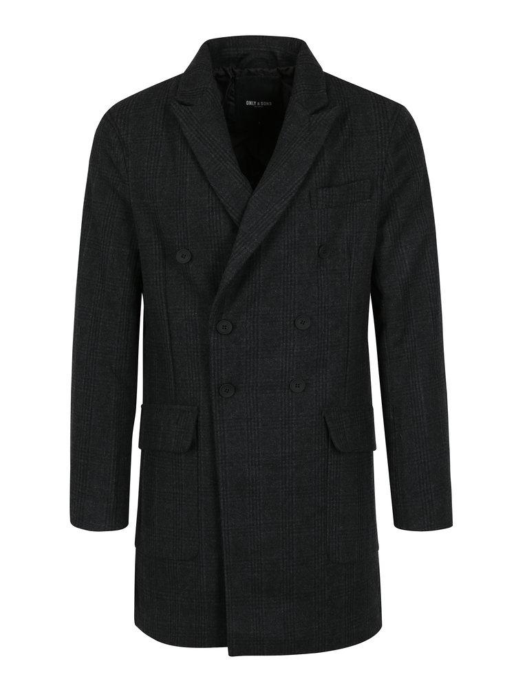 Palton gri inchis cu model tartan ONLY & SONS Svend