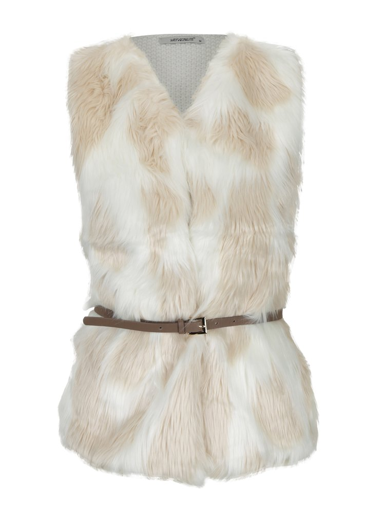 Krémová vesta s umělým kožíškem a páskem Haily´s Tyra