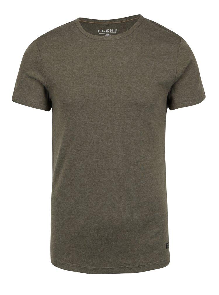 Khaki basic tričko s kulatým výstřihem Blend