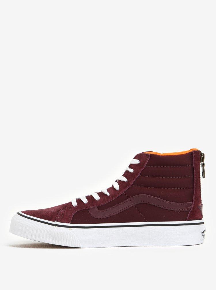 Pantofi sport inalti bordo din piele si material textil pentru femei - VANS SK8-Hi