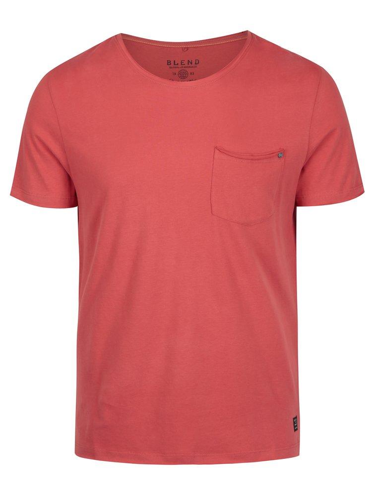 Tricou basic roșu cu buzunar Blend