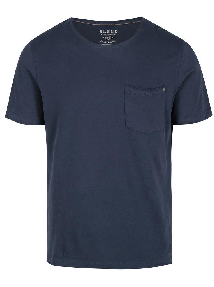 Tricou basic albastru inchis cu buzunar Blend