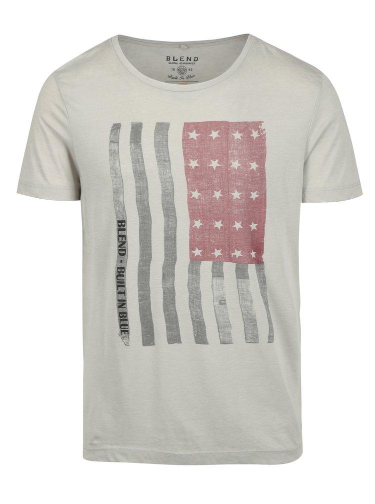Tricou crem slim fit cu print steag american Blend