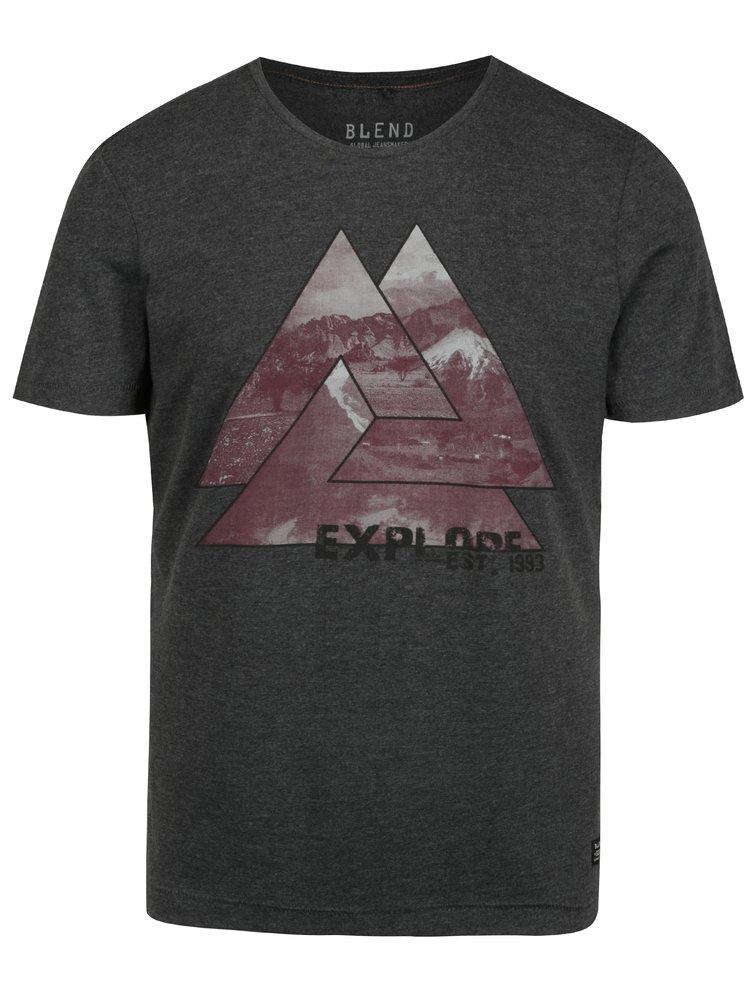 Tricou gri inchis cu print geometric Blend