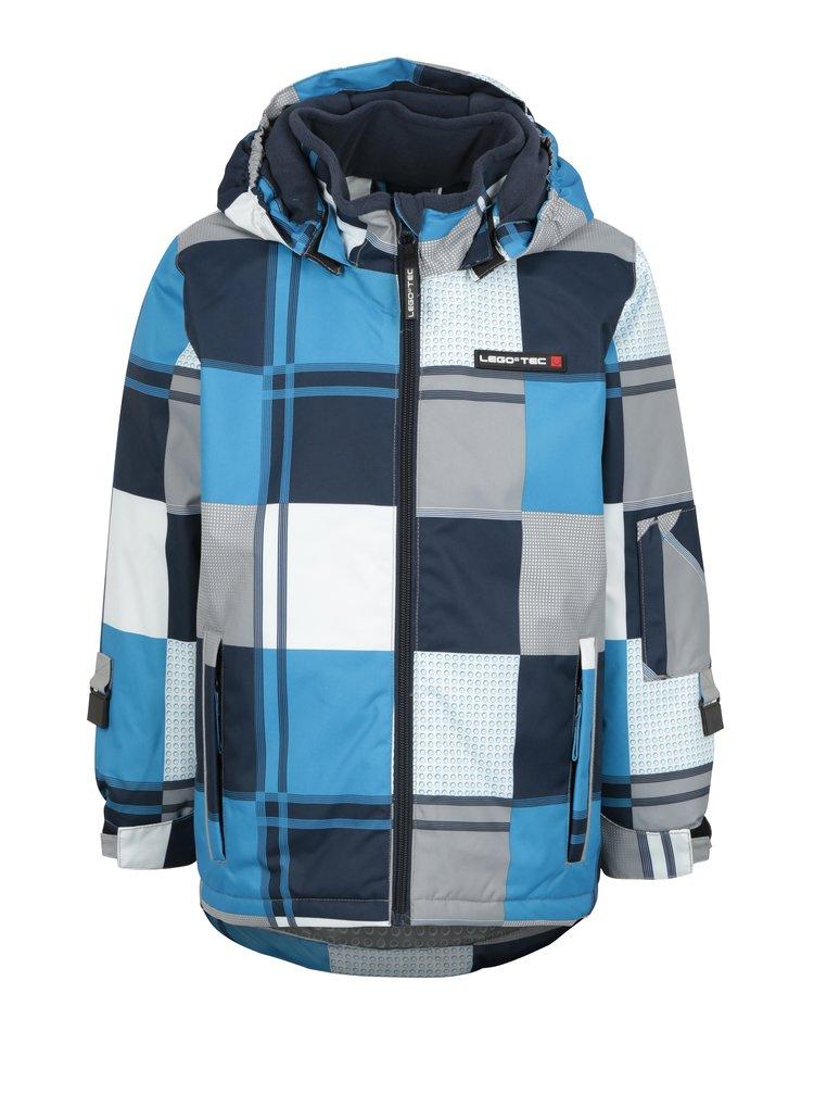 ... Modro-biela chlapčenská kockovaná funkčná bunda so snímateľnou kapucňou  Lego Wear Jazz 154b8c8f6bc
