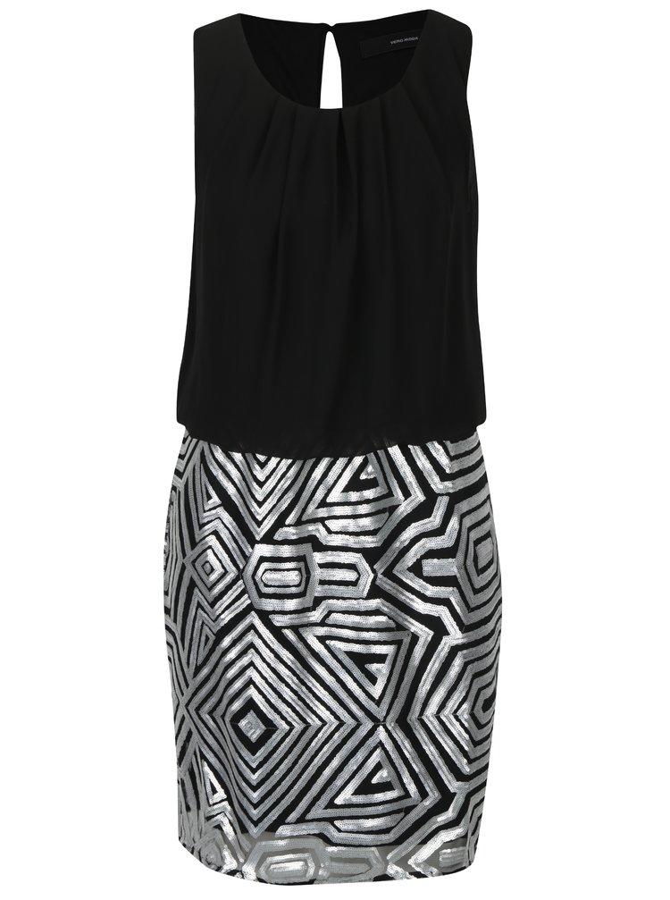 Stříbrno-černé šaty s flitrovanou sukní VERO MODA Silje