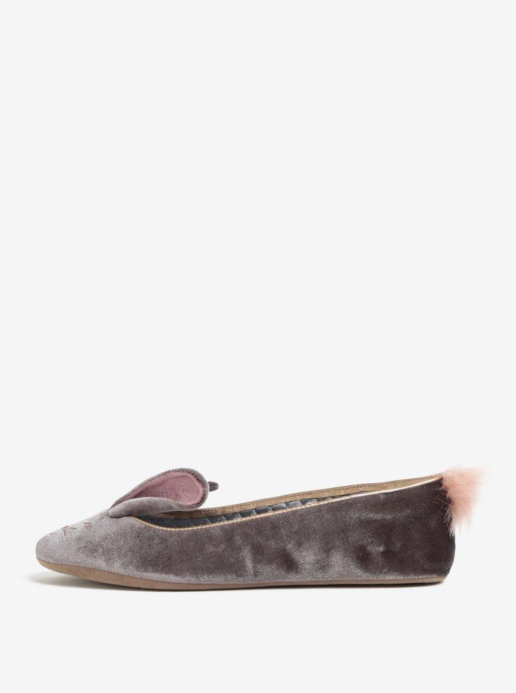 Papuci din catifea gri cu urechi și codiță de iepuraș - Ted Baker Bellamo