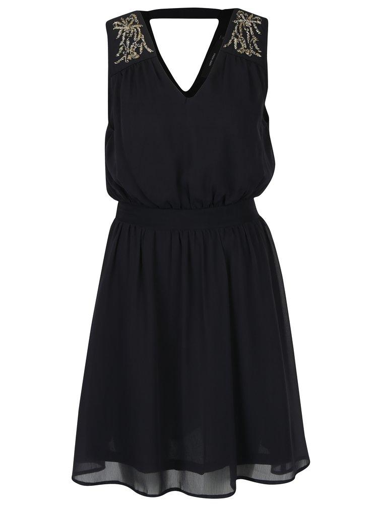 Černé šaty s korálkovou aplikací VERO MODA Lollie