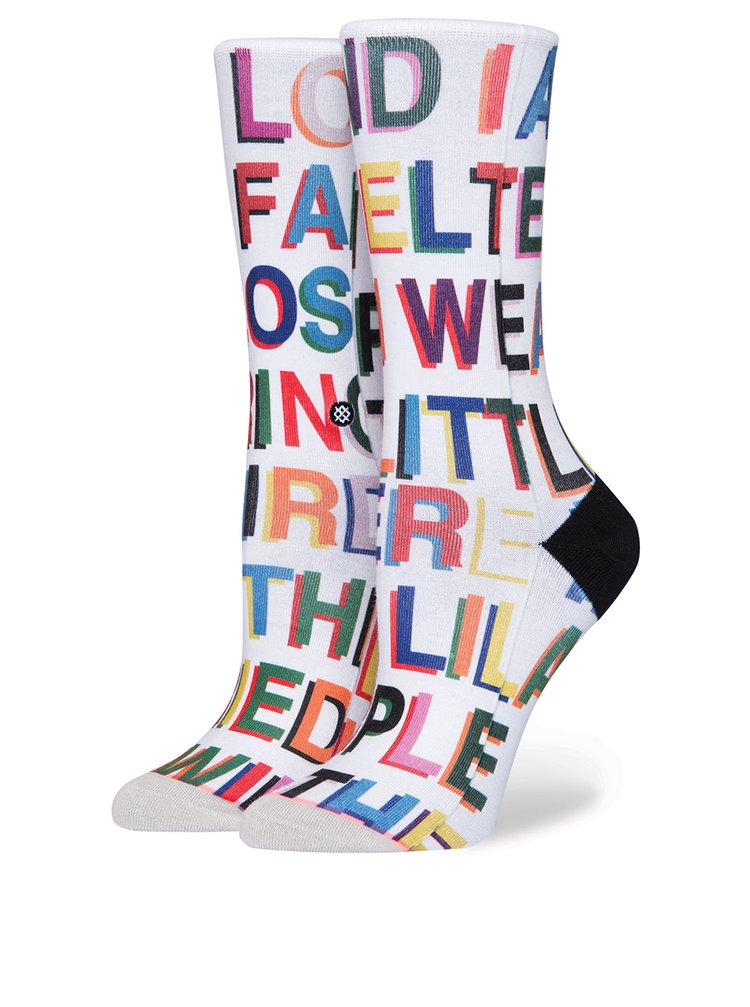 Șosete albe înalte cu print text pentru femei - Stance Love Letters