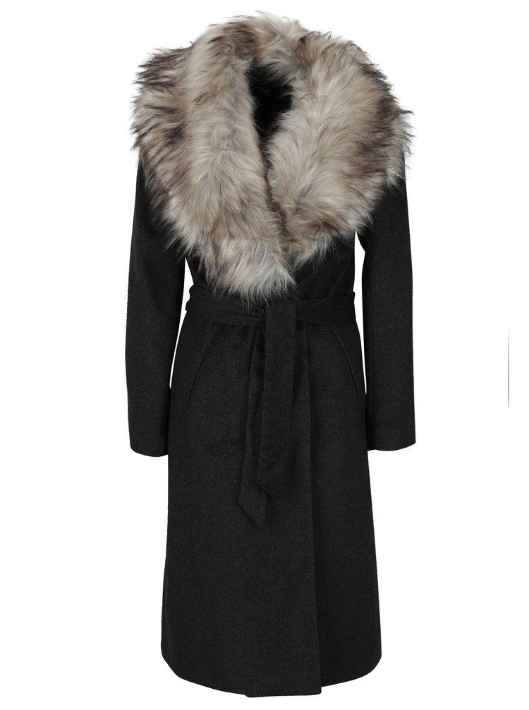 Palton cu dungi si guler de blana ONLY Lina
