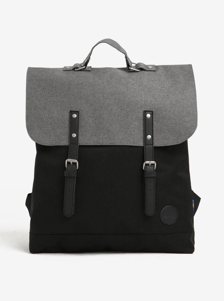Rucsac gri&negru unisex cu detalii din piele Enter Backpack 12 l