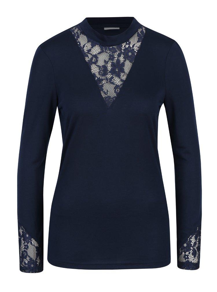 Tmavě modré tričko s krajkou v dekoltu Jacqueline de Yong Fabia