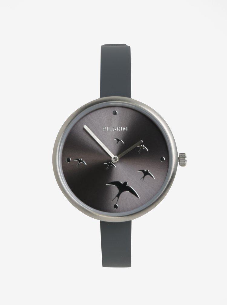 Postříbřené hodinky se silikonovým páskem páskem a motivem vlaštovek Pilgrim