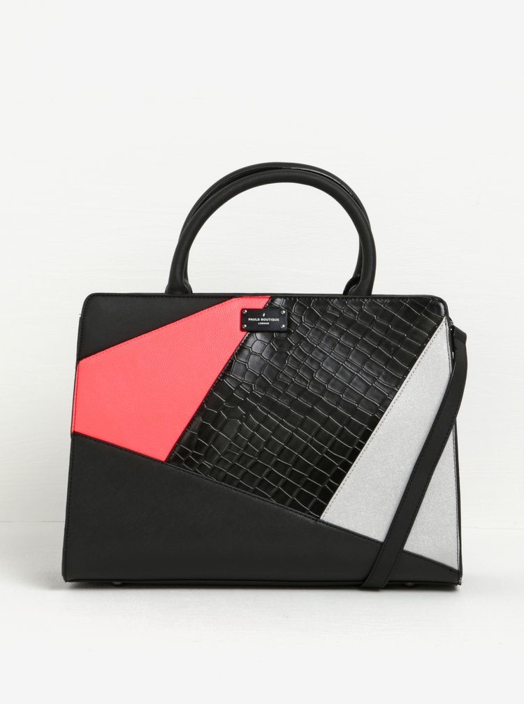 Geanta neagra cu model piele de sarpe si detalii roz neon Paul's Boutique Mable