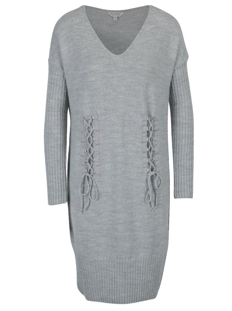 Rochie pulover gri deschis cu siret decorativ Miss Selfridge