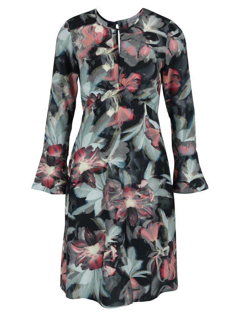 Černo-zelené květované šaty s průstřihem v dekoltu Closet