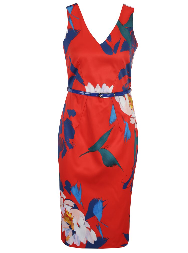 Červené květované pouzdrové šaty s páskem Closet