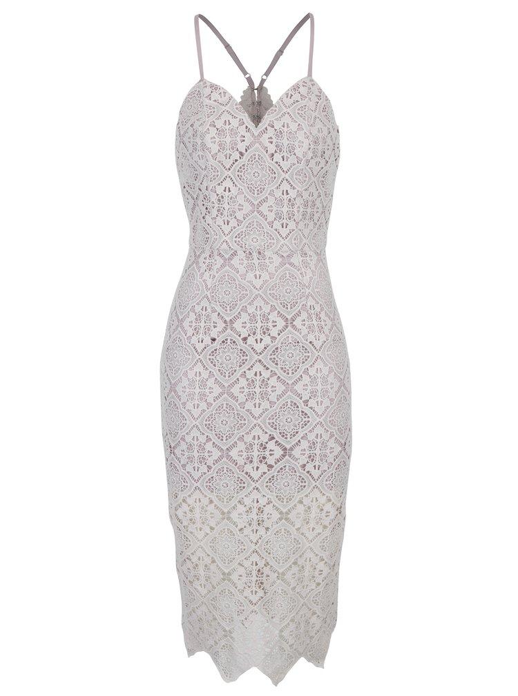 Krémovo-fialové krajkové šaty Chi Chi London
