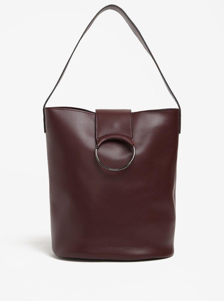 Vínová velká kabelka se sponou Nalí