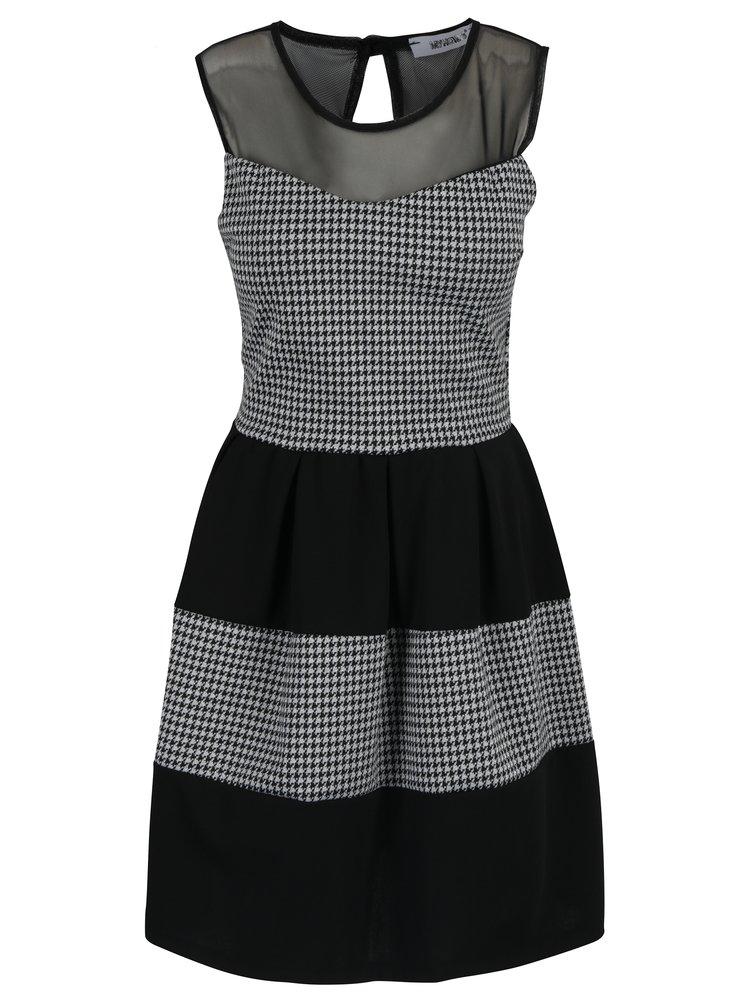 Stříbrno-černé vzorované šaty Haily´s Eva