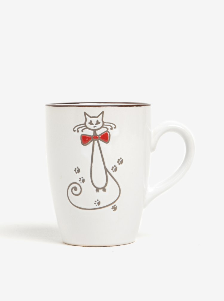 Krémový keramický hrnek s motivem kočky Dakls