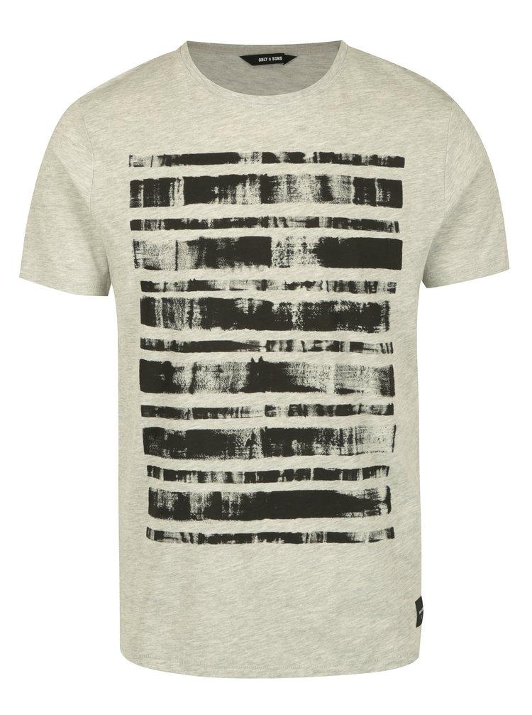 Šedé tričko s potiskem ONLY & SONS Hagret