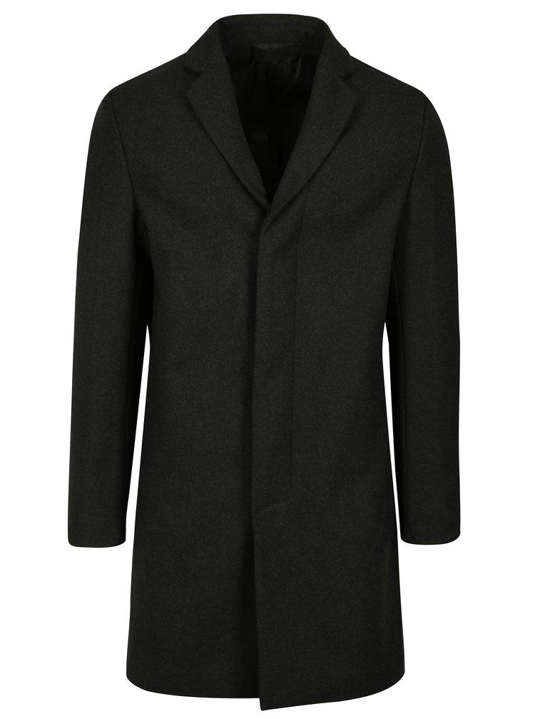 Tmavě šedý pánský kabát s příměsí vlny Selected Homme Brove