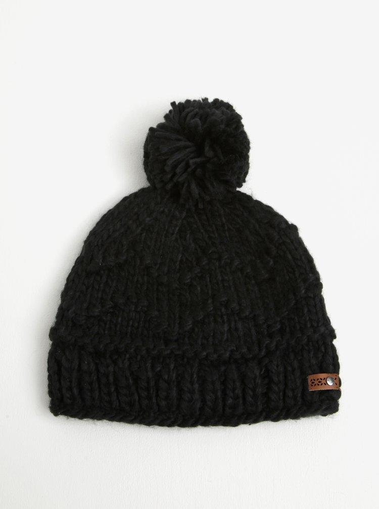 Caciula neagra tricotata cu pompom pentru femei - Roxy Winter