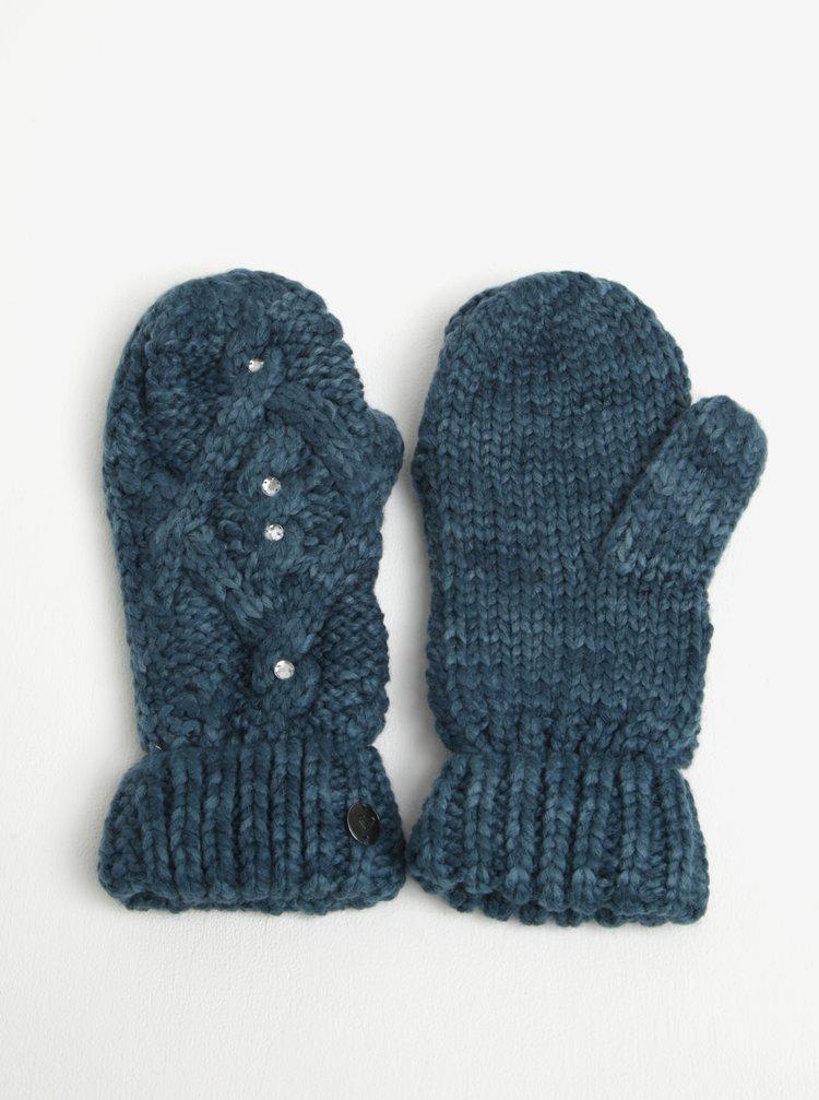 Manusi tricotate albastru petrol cu pietre decorative - Roxy Shooting Star