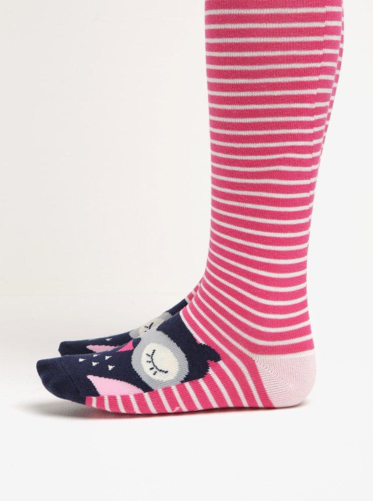 Růžové holčičí pruhované punčocháče se sovou Tom Joule Anikins